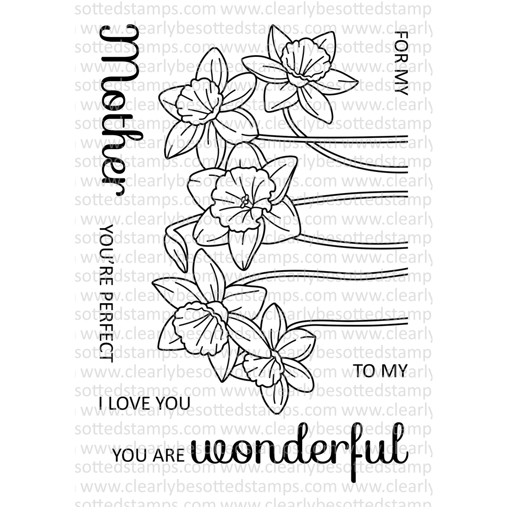 Clearly Besotted SPRING DAFFODILS Clear Stamp Set zoom image