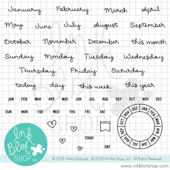 Ink Blot Shop Clear Stamp Set MONTHS & DAYS CALENDAR BUILDER inbl034