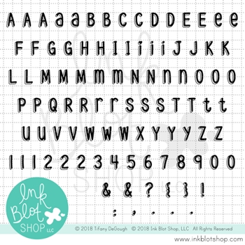 Ink Blot Shop Clear Stamp Set DROP SHADOW ALPHABET inbl036