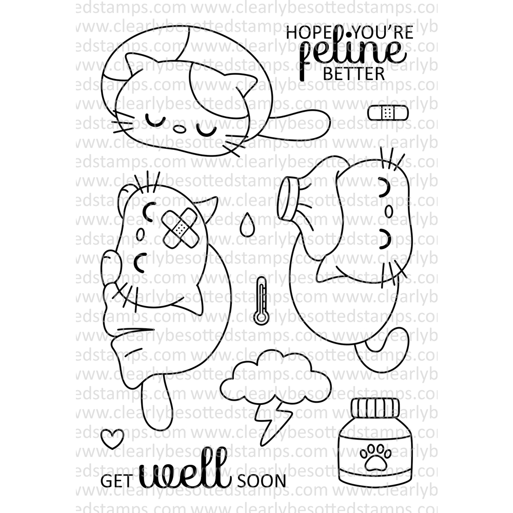Clearly Besotted FELINE FINE Clear Stamp Set  zoom image