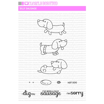 Clearly Besotted SILLY SAUSAGE Clear Stamp Set