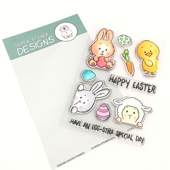 Gerda Steiner Designs PEEKING EASTER FRIENDS Clear Stamp Set gsd632