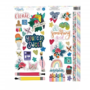 American Crafts Shimelle ACCENT AND PHRASE Stickers Box of Crayons 346612