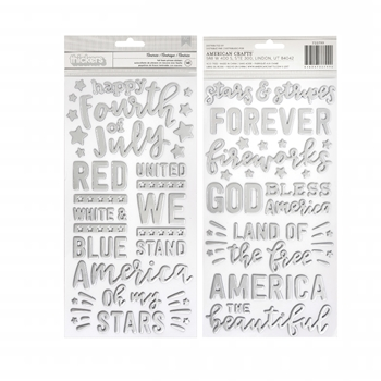 Pebbles Inc. AMERICA PHRASES Foil Foam Phrase Thickers Land That I Love 733799