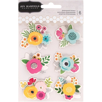 Pebbles Inc. Jen Hadfield FLOWERS Dimensional Stickers Patio Party 733779