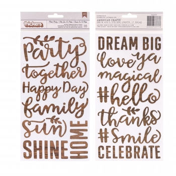 Pebbles Inc. WOODGRAIN WORDS Printed Chipboard Phrase Thickers Patio Party 733777