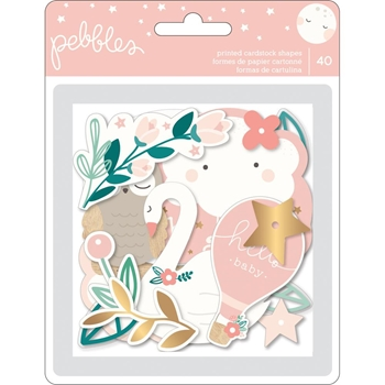 Pebbles Inc. GIRL EPHEMERA Night Night Baby Printed Cardstock Shapes 732732