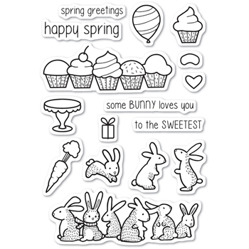 Memory Box Clear Stamps SPRING BUNNIES Open Studio cl5220