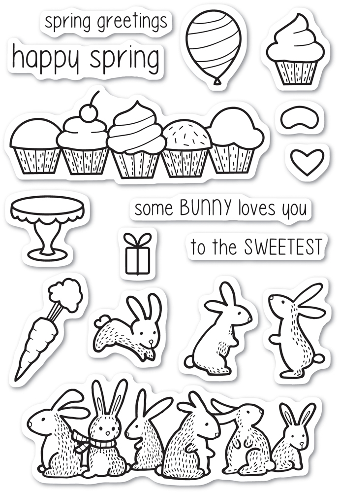 Memory Box Clear Stamps SPRING BUNNIES Open Studio cl5220 zoom image