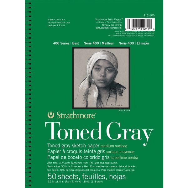 Strathmore TONED GRAY Sketch Paper 5.5x8.5 Pad 50 Sheets 412105 zoom image