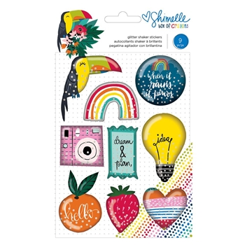 American Crafts Shimelle GLITTER SHAKER STICKERS Box of Crayons 346622