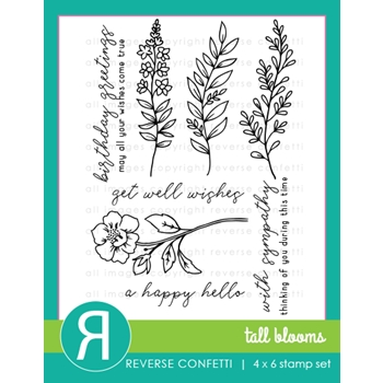 Reverse Confetti TALL BLOOMS Clear Stamp Set