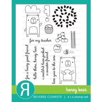 Reverse Confetti HONEY BEAR Clear Stamp Set