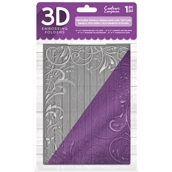 Crafter's Companion TEXTURED SWIRLS 3D Embossing Folder ef5-3d-text