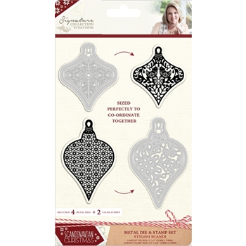 Crafter's Companion STYLISH SCANDI Metal Die & Stamp Set Scandinavian Christmas s-sx-mds-style