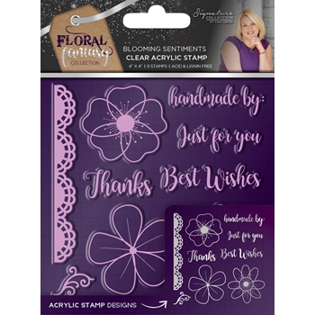 Crafter's Companion BLOOMING SENTIMENTS Acrylic Stamp Set Floral Fantasy s-ff-st-bloo