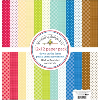 Doodlebug DOWN ON THE FARM Petite Print Assortment 12x12 Inch Paper 5995