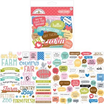 Doodlebug DOWN ON THE FARM Chit Chat Die Cut Sentiments 5906