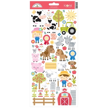 Doodlebug ON THE FARM Icons Cardstock Stickers 5929