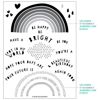 Concord & 9th RAINBOW WISHES Clear Stamp Set 10369