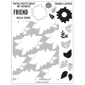 Concord & 9th POSIE FILL-IN Clear Stamp Set 10375