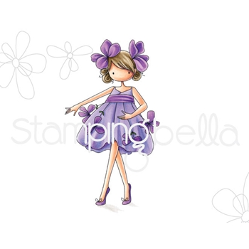 Stamping Bella Cling Stamp TINIE TOWNIE GARDEN GIRL VIOLET Rubber UM eb668