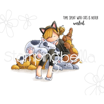 Stamping Bella Cling Stamp TINIE TOWNIE COURTNEY LOVES KITTIES Rubber UM eb669