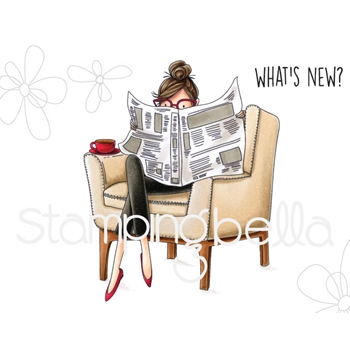 Stamping Bella Cling Stamp UPTOWN GIRL NANCY READS THE NEWSPAPER Rubber UM eb671