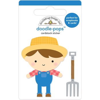 Doodlebug FARMER JOE Doodle Pops 3D Stickers Down on the Farm 5858