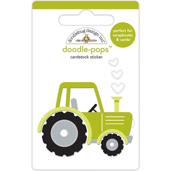 Doodlebug TRUSTY TRACTOR Doodle Pops 3D Stickers Down on the Farm 5856