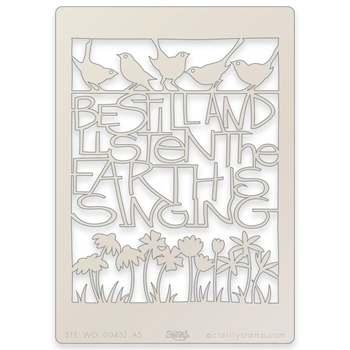 Claritystamp THE EARTH IS SINGING A5 Stencil stewo00452a5