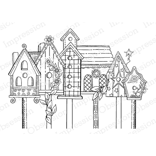 Impression Obsession Cling Stamp BIRDHOUSE ROW E16353 Preview Image