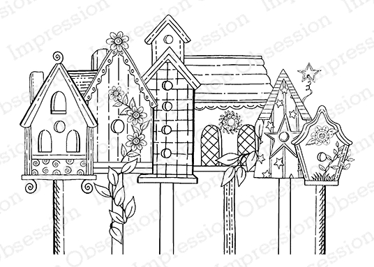 Impression Obsession Cling Stamp BIRDHOUSE ROW E16353 zoom image