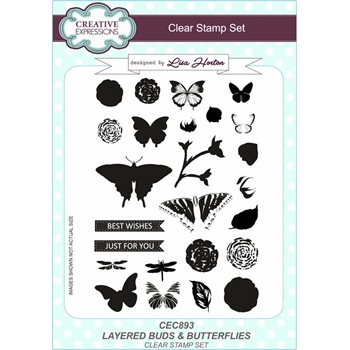 Creative Expressions LAYERED BUDS AND BUTTERFLIES Clear Stamps cec893