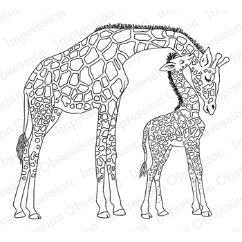 Impression Obsession Cling Stamp GIRAFFE MOM AND BABY F7922