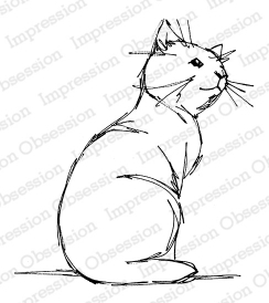 Impression Obsession Cling Stamp SKETCHED CAT F13669