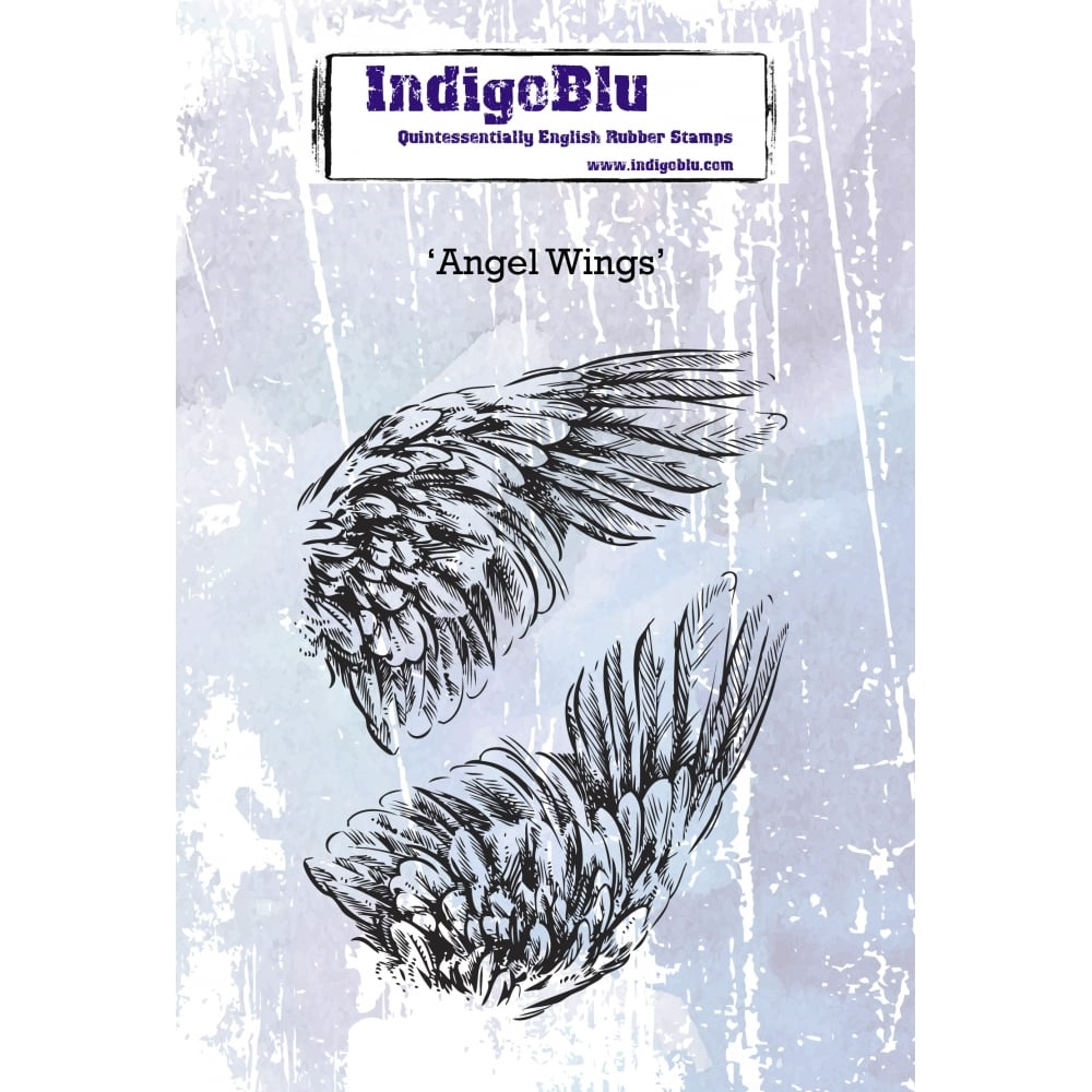 IndigoBlu Cling Stamp ANGEL WINGS Rubber ind0379 zoom image