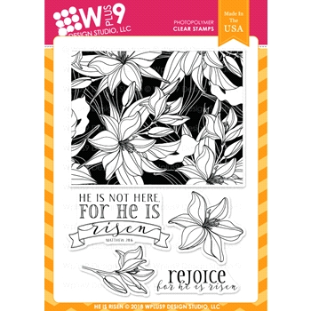 Wplus9 HE IS RISEN Clear Stamps cl-wp9hir