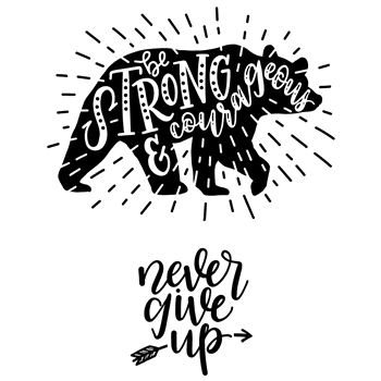 Inky Antics NEVER GIVE UP Cling Stamp Set scl-104