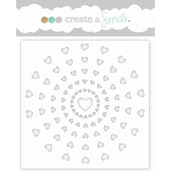 Create A Smile HEART RAYS Stencil scs28