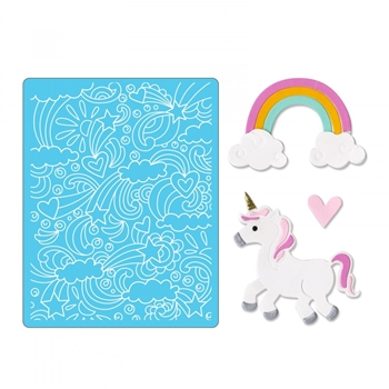 Sizzix UNICORNS AND RAINBOWS Thinlits Dies and Textured Impressions Embossing Folder 662757