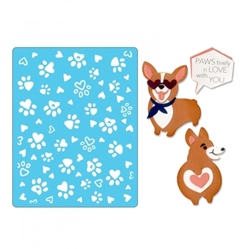 Sizzix CORGIS Thinlits Dies and Textured Impressions Embossing Folder 662756