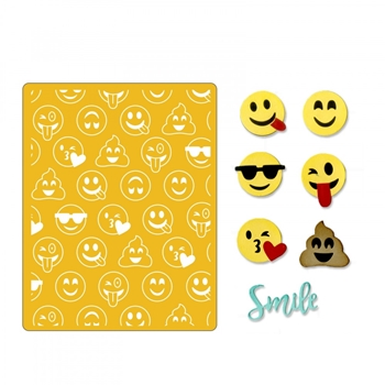 Sizzix SMILE EMOJIS Thinlits Dies and Textured Impressions Embossing Folder 662754
