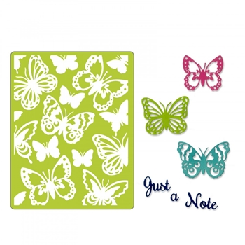 Sizzix JUST A NOTE BUTTERFLIES Thinlits Dies and Textured Impressions Embossing Folder 662753