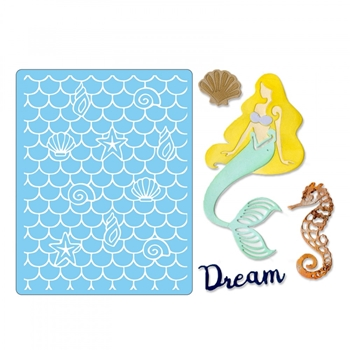 Sizzix DREAM MERMAID Thinlits Dies and Textured Impressions Embossing Folder 662752