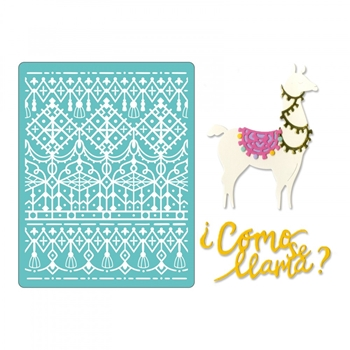 Sizzix COMO SE LLAMA Thinlits Dies and Textured Impressions Embossing Folder 662751