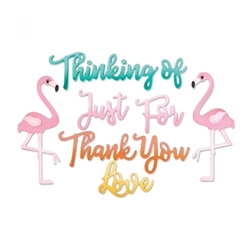 Sizzix THANK YOU AND FLAMINGO PHRASES Thinlits Die Set 662724