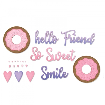 Sizzix SWEET AND DONUT PHRASES Thinlits Die Set 662723