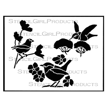 StencilGirl HUMMINGBIRD AND FRIENDS 9x12 Stencil l618