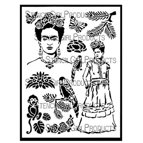 StencilGirl INSPIRED BY FRIDA 9x12 Stencil l620 Preview Image
